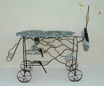Sculptural Bar- ONE HORSE 1988 H-60in W-70in D-22in Steel, Stone and Kinetic Fly