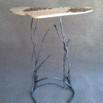 Sculptural Table-LOUISIANA SWAMP-2015 Phill Evans- Forged Steel-Bark Wood H--33 W-34 D-10in