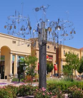 "Public Art- ""Film Festival 2010 Palladio Center, Folsom, California. 46 Hand forged figures dancing in the wind.  Inspiratlion- Italian Renaisance love of the Theater."